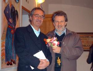 Il fondatore di Mateureka, il prof. Renzo Baldoni (a sinistra) con il matematico Piergiorgio Odifreddi.
