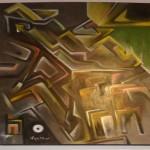 """Incertezza dimensionale. Olio su tela, 2012, opera del maestro dell'espressionismo matematico """"Agathos""""."""